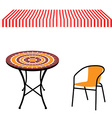 Table chair and awning vector image vector image