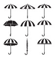 umbrella objects icons set monochrome vector image