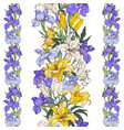 white and yellow lilies and blue irises seamless vector image vector image