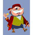 cartoon cheerful chubby man in a pirate costume vector image