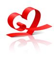 Red ribbon heart vector image