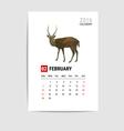 2016 february calendar deer polygon vector image vector image