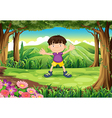 A playful young man at the jungle vector image vector image
