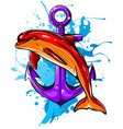 anchor and dolphin icon vector image