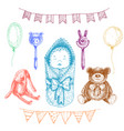 banewborn toys in hand drawn style isolated vector image