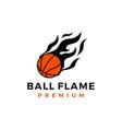 basket ball fire flame logo icon vector image vector image