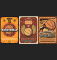 basketball sport court with balls and basket hoop vector image vector image