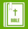 bible icon green vector image vector image