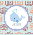 blue whale baby shower greeting card vector image