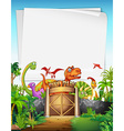Border design with dinosaur at the park vector image vector image