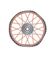 broken metallic bicycle wheel with red spokes vector image vector image