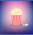 carton bowl full of popcorn on colorful background vector image vector image