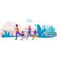 cartoon family running in park parents and vector image vector image