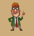 cartoon funny man in a suit and in round glasses vector image vector image