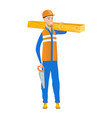 caucasian carpenter holding saw and wooden board vector image