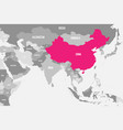 china pink marked in political map of southern vector image vector image