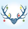 christmas decoration on reindeer horns vector image