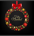 christmas postcard with wreath and ball vector image vector image