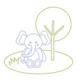 cute and tender elephant in the jungle character vector image vector image