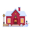 cute snowy house suburban winter cottage building vector image vector image