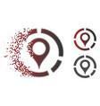 damaged dot halftone map marker diagram icon vector image vector image