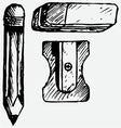 Eraser pencil with eraser and sharpener vector image vector image
