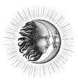 face in sun and moon hand drawing vintage vector image vector image