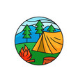 forest camping logo badge tent with bonfire at vector image