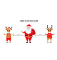 funny christmas deer and santa claus wear vector image vector image