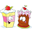 funny strawberry and cherry cake - isolated vector image vector image