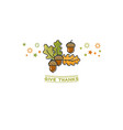 give thanks card cartoon acorn on white vector image vector image