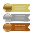 gold silver and bronze medals banners design vector image vector image