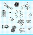 hand drawn set elements black on paper vector image