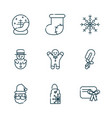 happy christmas line icons collection vector image vector image