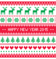 Happy New Year 2015 - Scandinavian winter pattern vector image vector image