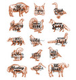 hunt open season animals and birds lettering icons vector image