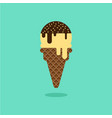 ice cream cone vanilla chocolate flavor with vector image