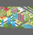 isometric design of city district with residential vector image vector image