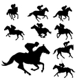 jockeys silhouettes collection vector image