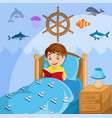 little boy reading a book in his bed vector image