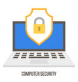 lock and badge on laptop screen data security vector image