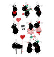 love set with funny moose vector image vector image