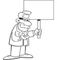 man wearing a lab coat and holding a large sign vector image vector image