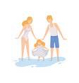 mom dad and their little daughter on beach happy vector image vector image