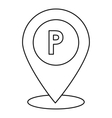 Parking pin icon outline style vector image vector image