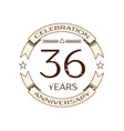 realistic thirty six years anniversary celebration vector image vector image