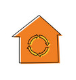 recycle house symbol cartoon vector image vector image