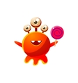 Red Three-Eyed Toy Monster With Lollypop vector image vector image