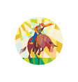 Rodeo Cowboy Bull Riding Pointing Low Polygon vector image vector image
