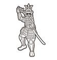 samurai warrior action japanese fighter vector image vector image
